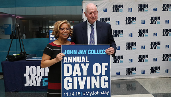President Karol V. Mason with Jules Kroll, Chairman of the Board of John Jay College Foundation, Inc. Board of Trustees