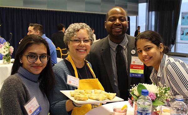 Anily Rozario, Associate Professor Carmen Solis in the SEEK Department, Al Edouard, and Paula Melendez