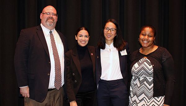 (left to right) Assistant Professor Arbour, Congresswoman Ocasio-Cortez, Associate Professor Kang, and Political Science student Reid