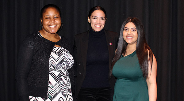 (left to right) Ravenne Reid, Alexandria Ocasio-Cortez, and Awad