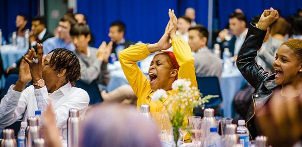 Student-athletes celebrating
