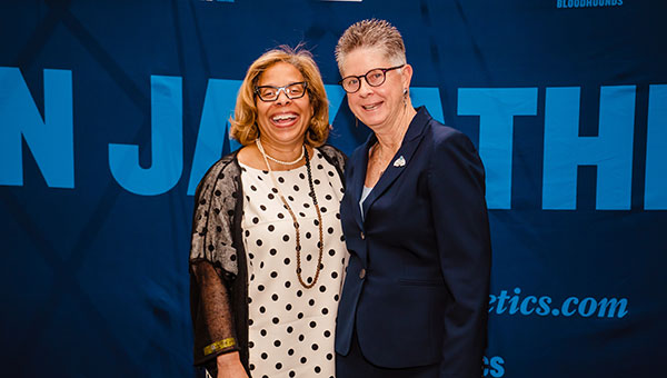 John Jay College President Karol V. Mason and Director of Athletics, Recreation and Intramurals, Carol Kashow