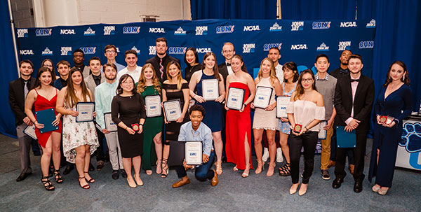 John Jay student-athletes with their CUNY Athletic Conference All Star awards