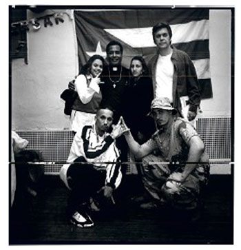 Brotherton with Professor Luis Barrios and leaders of the Latin Kings, 1997