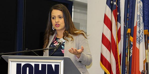 Catalina Cruz speaking at John Jay College