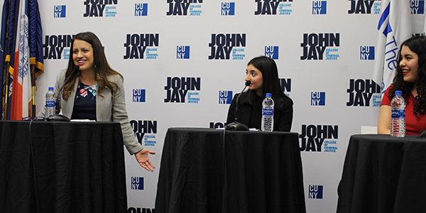 Catalina Cruz interacting with students at John Jay College