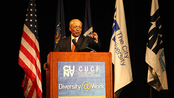 William C.  Thompson, Jr., Chairperson, CUNY Board of Trustees, exciting the crowd
