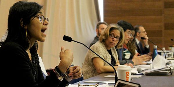 Sumaya Villanueva speaking at the CUNY Justice Academy