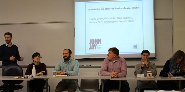 Professors Raymond Patton, María Julia Rossi, Jamie Longazel, Matthew Perry, Olivera Jokic, and Suzanne Oboler introducing the Justice eReader Project