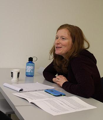 Wynne Ferdinand, Associate Director of First Year Academic Success Programs, asking a question