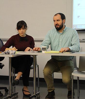 Professors María Julia Rossi and Jamie Longazel during the eReader Presentation
