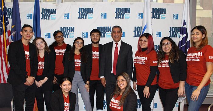 Congressman Adriano Espaillat with Adelante students