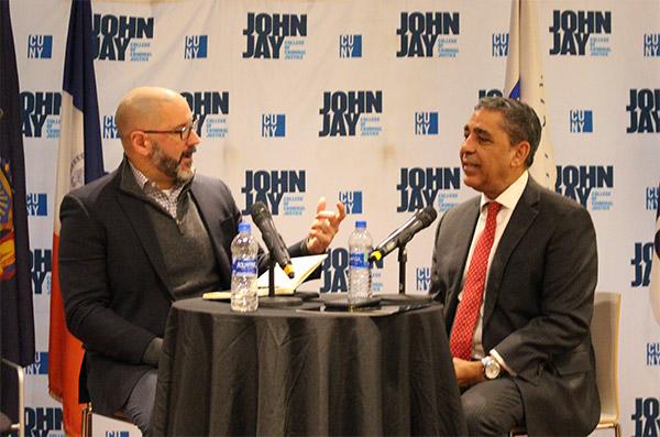 Professor John Gutiérrez and Congressman Adriano Espaillat during the conversation