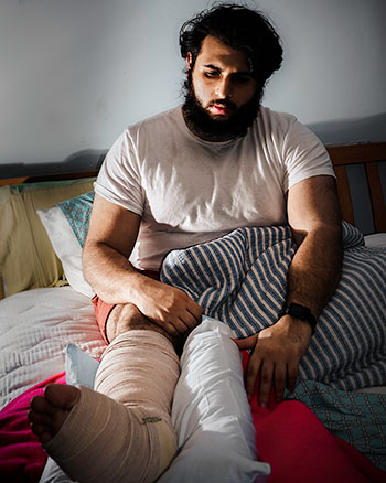 A self-portrait of Rahme after breaking his ankle