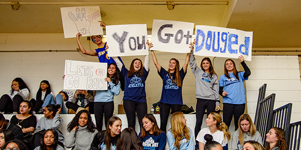 Students supporting the players