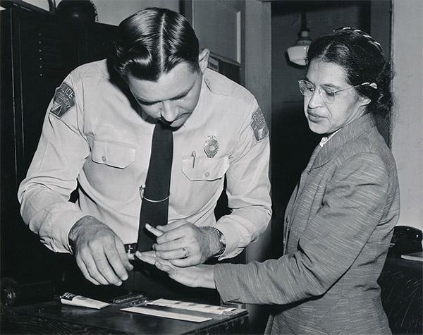 stock image Rosa Parks fingerprinted