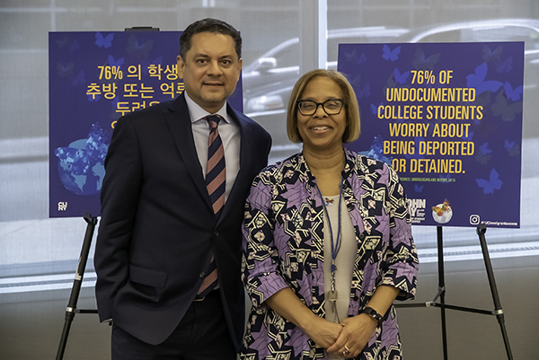 (left to right) José Luis Morín, Latin American and Latinx Studies Professor and Chairperson, and President Mason