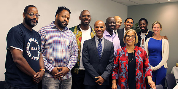 (center) Charles Davidson, Director of the Pre-Law Institute; (second from right) Karol V. Mason, President; (right) Laura Ginns, Vice President for Public Affairs and Strategic Initiatives with John Jay students and alumni.