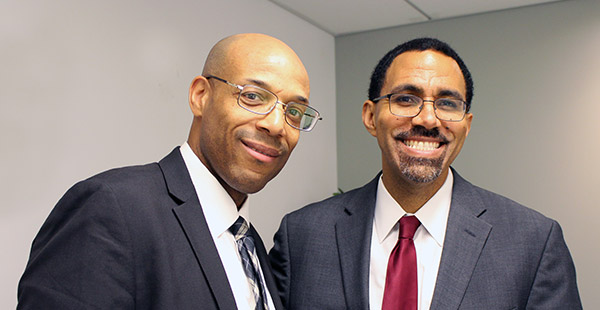 Ronald Day '19, Vice President of Programs for the Fortune Society and John Jay alumnus, with John B. King Jr.