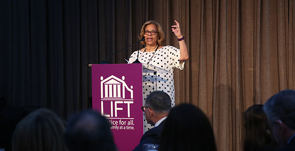 Mason delivering her keynote speech at the LIFT Gala