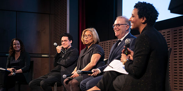 The panel, left to right: Rachel Barnard, Young New Yorkers; Calder Zwicky, Museum of Modern Art; Karol V. Mason, President John Jay College; John Feinblatt, Everytown for Gun Safety; Sherene Crawford, Midtown Community Court