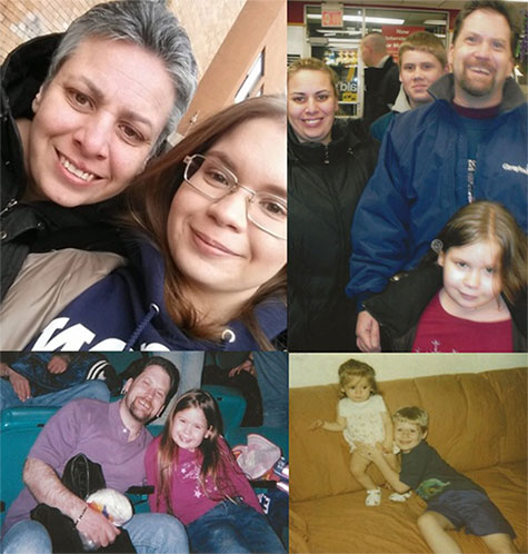 A photo collage of Nunziato's favorite family photos, featuring her mom, Wendy; her dad, Jeff; and her brother, Jeffrey.