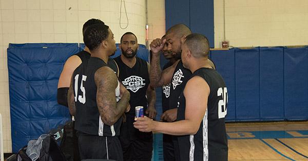 Bronx Bombers strategizing before the game