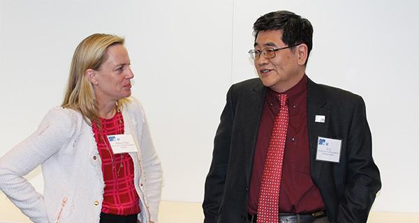 Professor Allison Pease speaking to Provost Yi Li