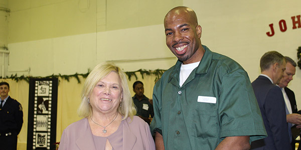 Kathleen Gerbing, Superintendent, Otisville Correctional Facility, with a student