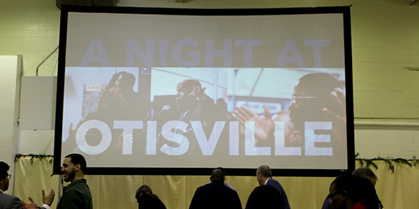 The screen set up in the Otisville gym
