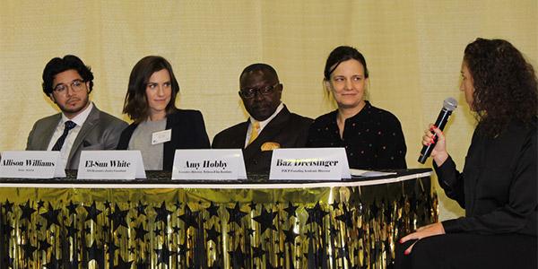 (left to right) Dino Solorzano, Allison Williams, Moses El-Sun White, Amy Hobby, Baz Dreisinger