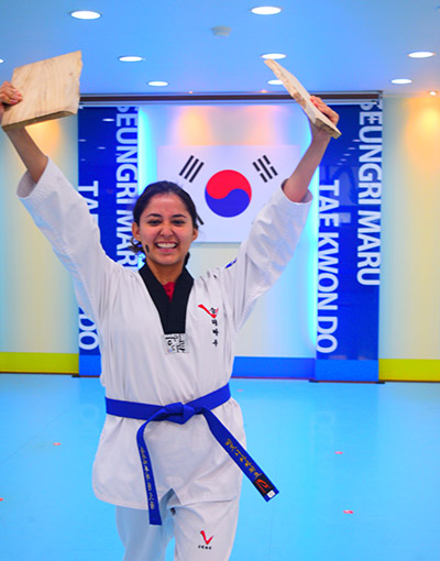 Pacheco celebrating a Tae Kwon Do victory