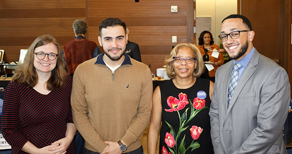 (left to right) Elizabeth Broccoli, Associate Director of PLI and Center for Post-Graduate Opportunities; Rael Almonte, PLI Research Assistant; Karol V. Mason, President of John Jay College; and Megil D. Patterson, PLI Student