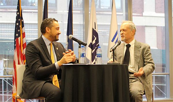 Assemblyman Rodriguez with the evening's moderator, Professor Dan Feldman