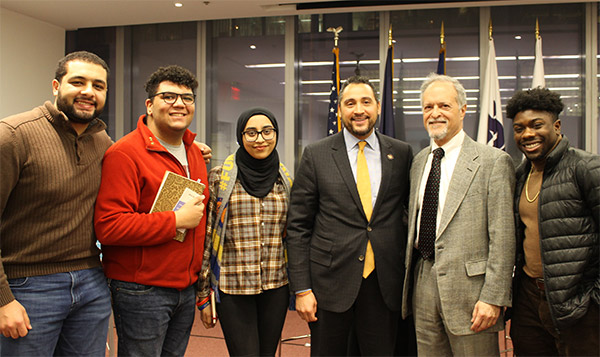 Assemblyman Robert Rodriguez with John Jay Students