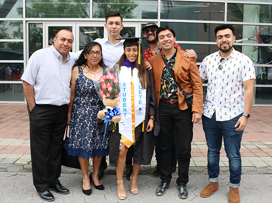 Gabyola and her family on Commencement Day