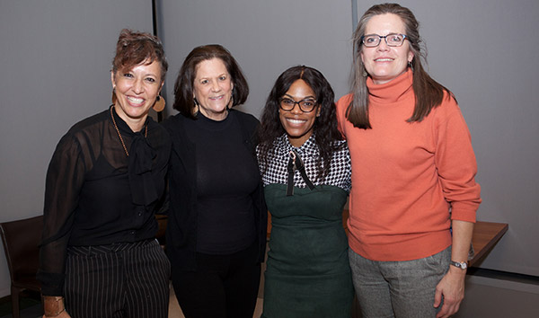 Nina Rose Fischer, Alisse Waterston, John Jay-Vera Fellows alumna Andrene Wright '17 and Caroline Reitze during the fifth annual Abby Stein Memorial Lecture