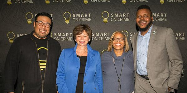 (left to right) Ed Chung, Center for American Progress, Valerie Jarrett, Senior Advisor to President Barack Obama, President Karol Mason, John Jay College of Criminal Justice, Michael Tubbs, Mayor of Stockton (CA)