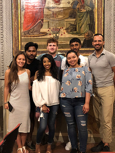 Yanes (far right) with students participating in the study abroad program in Florence, Italy