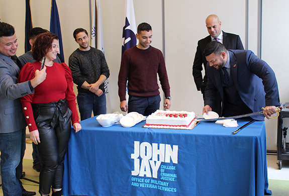 At the end of the ceremony, a cake cutting was held in honor of the Marine Corps 244th birthday