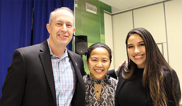 (left to right) Derek  Doan, Regional Director, T-Mobile, Public Sector; Sylvana Bunag-krasner, Senior Manager, NY Public Sector; with T-Mobile Graduation Award recipient Cassandra Rodriguez '19