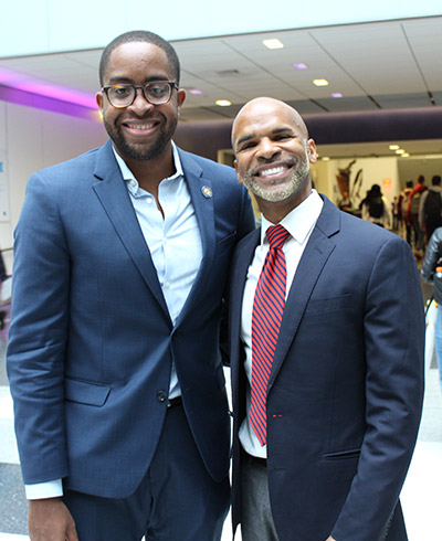 (left to right) Myrie with Pre-Law Institute Director Charles Robert Davidson, Ph.D.