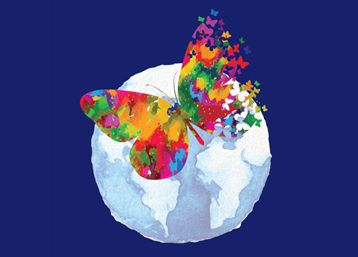 Illustration  of colorful butterfly on a globe