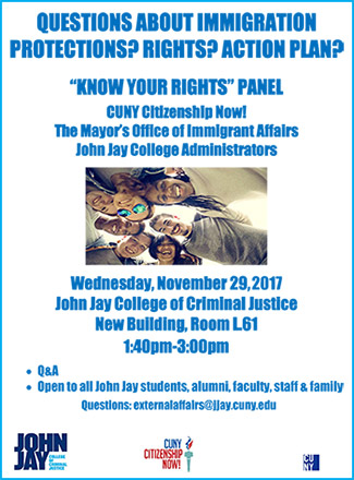 """""""Know Your Rights"""" Panel November 29, 2017"""