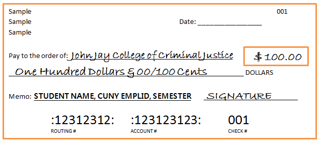 Sample of a check made payable to John Jay College