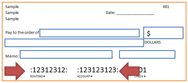 Sample of where find routing and account number on a check