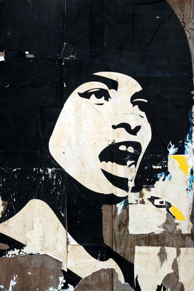 Artistic representation of black feminist abolitionist scholar Angela Davis
