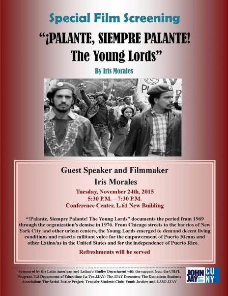 """Film screening """"Palante, Siempre Palante! The Young Lords"""""""