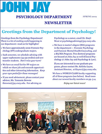 Department of Psychology SPRING 2019 Newsletter