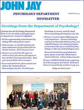 Dept of Psychology Spring 2019 Newsletter
